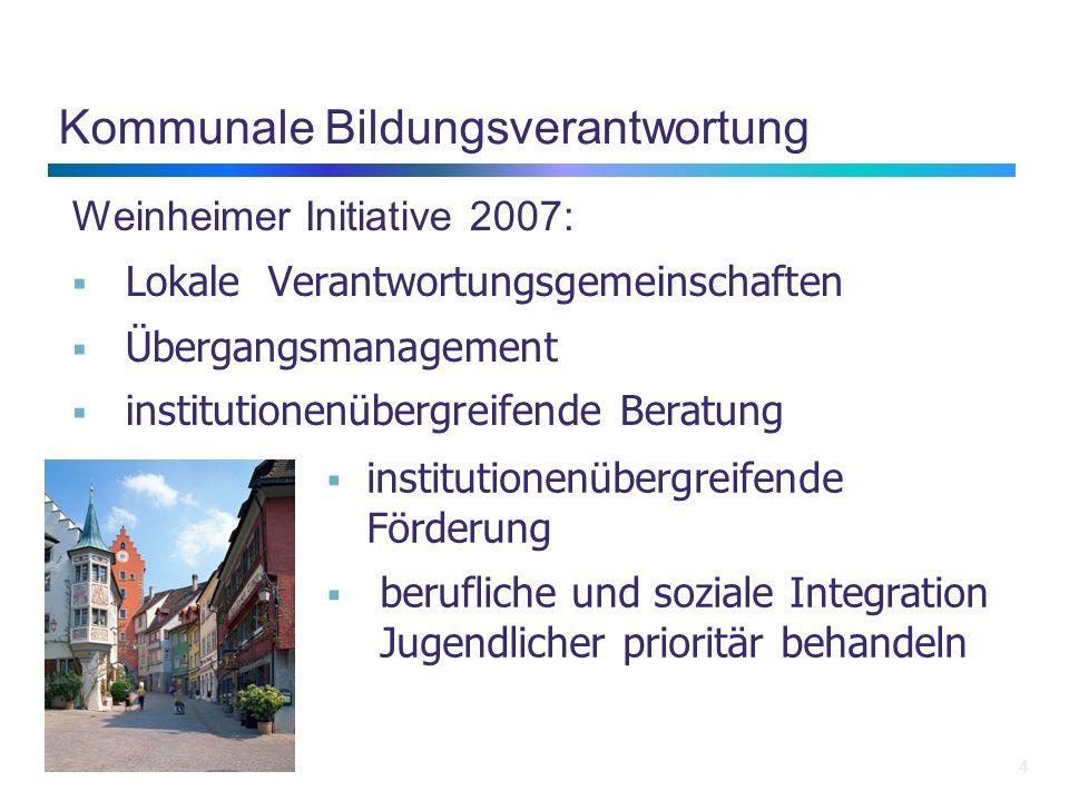 Kommunale Bildungsverantwortung 4 Weinheimer Initiative 2007: Lokale Verantwortungsgemeinschaften Übergangsmanagement institutionenübergreifende Berat
