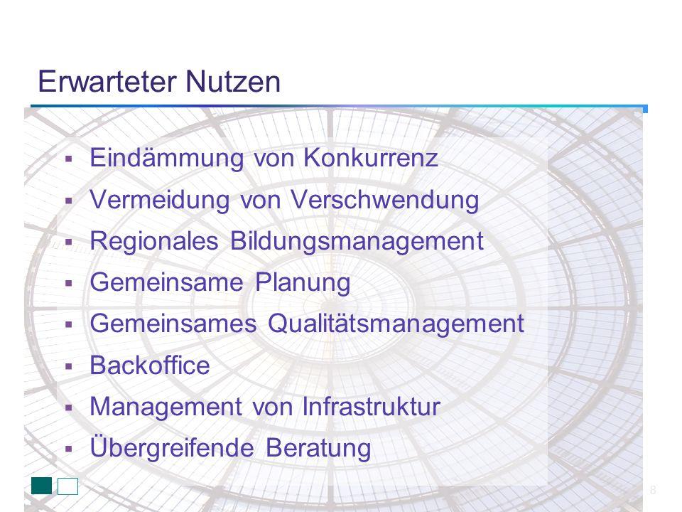 Erwarteter Nutzen 8 Eindämmung von Konkurrenz Vermeidung von Verschwendung Regionales Bildungsmanagement Gemeinsame Planung Gemeinsames Qualitätsmanag