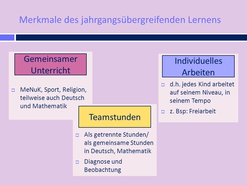 MeNuK, Sport, Religion, teilweise auch Deutsch und Mathematik Merkmale des jahrgangsübergreifenden Lernens Gemeinsamer Unterricht Als getrennte Stunden/ als gemeinsame Stunden in Deutsch, Mathematik Diagnose und Beobachtung Teamstunden d.h.