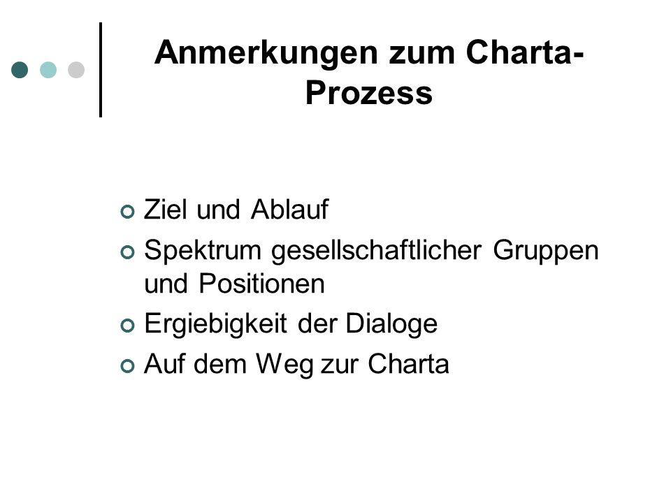Anmerkungen zum Charta- Prozess Ziel und Ablauf Spektrum gesellschaftlicher Gruppen und Positionen Ergiebigkeit der Dialoge Auf dem Weg zur Charta