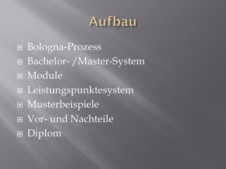 Bologna-Prozess Bachelor- /Master-System Module Leistungspunktesystem Musterbeispiele Vor- und Nachteile Diplom