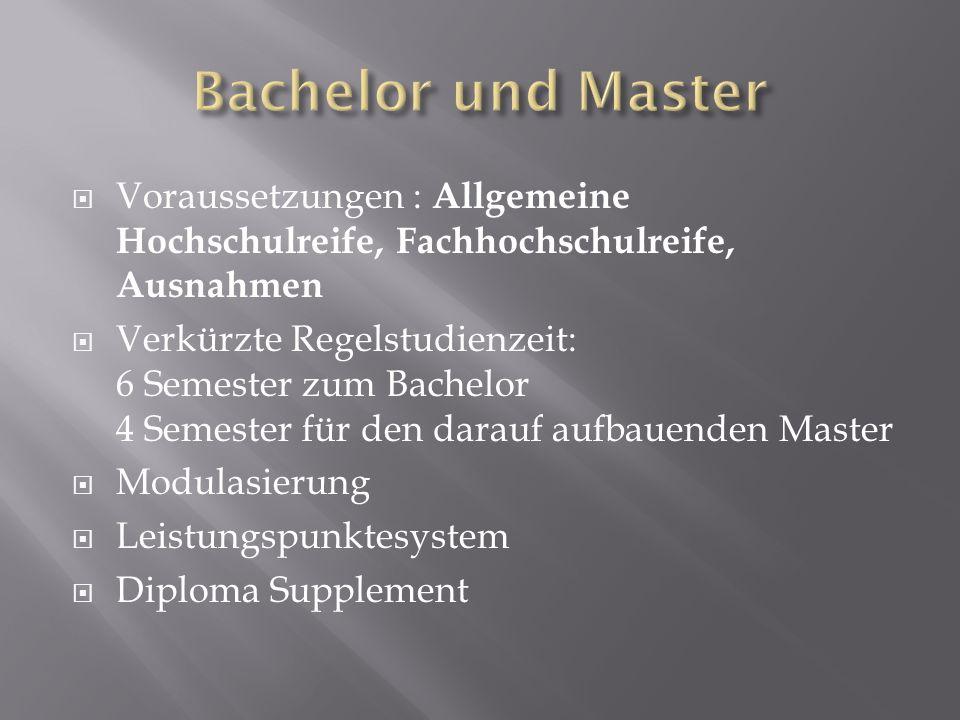 Voraussetzungen : Allgemeine Hochschulreife, Fachhochschulreife, Ausnahmen Verkürzte Regelstudienzeit: 6 Semester zum Bachelor 4 Semester für den dara