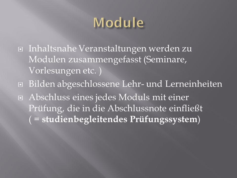 Inhaltsnahe Veranstaltungen werden zu Modulen zusammengefasst (Seminare, Vorlesungen etc. ) Bilden abgeschlossene Lehr- und Lerneinheiten Abschluss ei