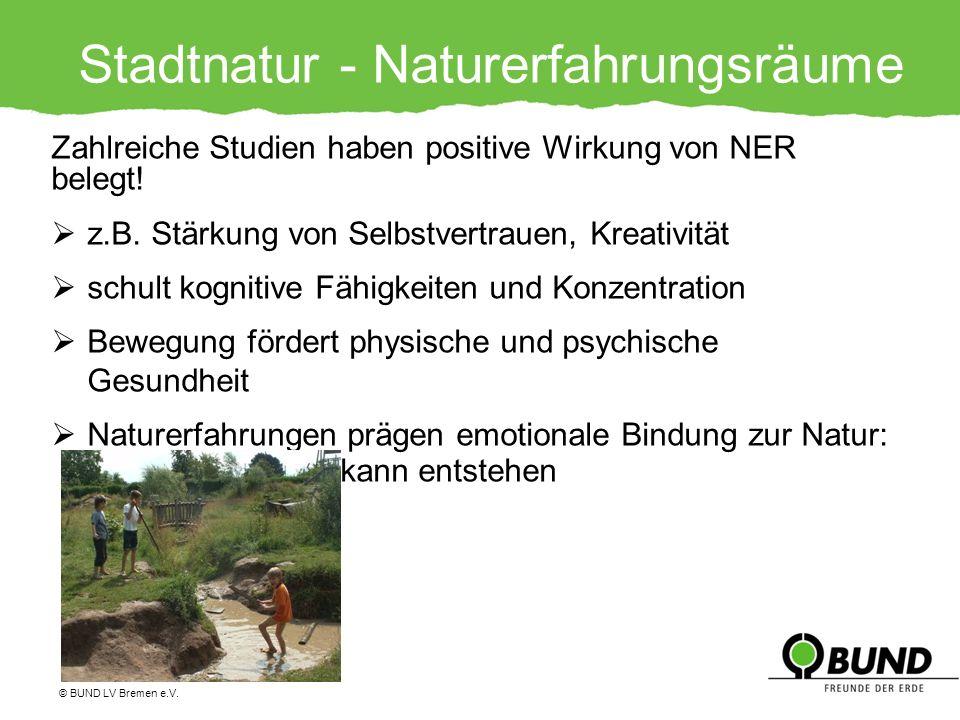 Stadtnatur - Naturerfahrungsräume Zahlreiche Studien haben positive Wirkung von NER belegt! z.B. Stärkung von Selbstvertrauen, Kreativität schult kogn
