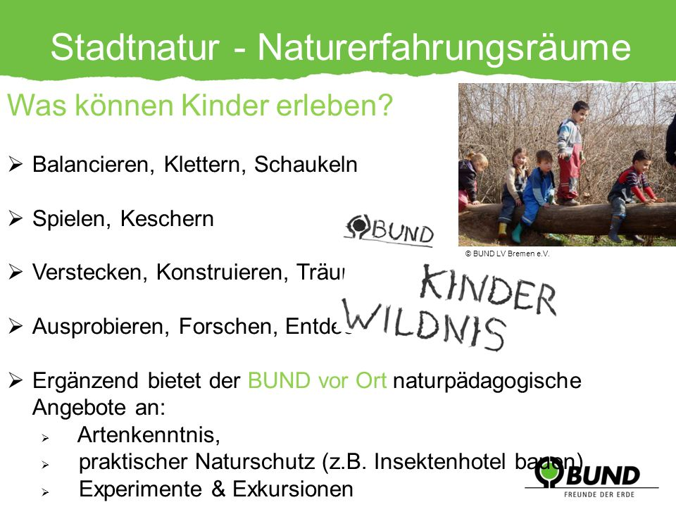Stadtnatur - Naturerfahrungsräume Was können Kinder erleben? Balancieren, Klettern, Schaukeln Spielen, Keschern Verstecken, Konstruieren, Träumen Ausp