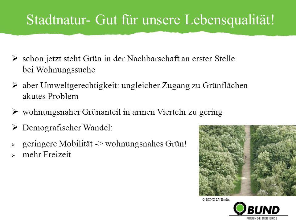 Stadtnatur- Gut für unsere Lebensqualität! schon jetzt steht Grün in der Nachbarschaft an erster Stelle bei Wohnungssuche aber Umweltgerechtigkeit: un