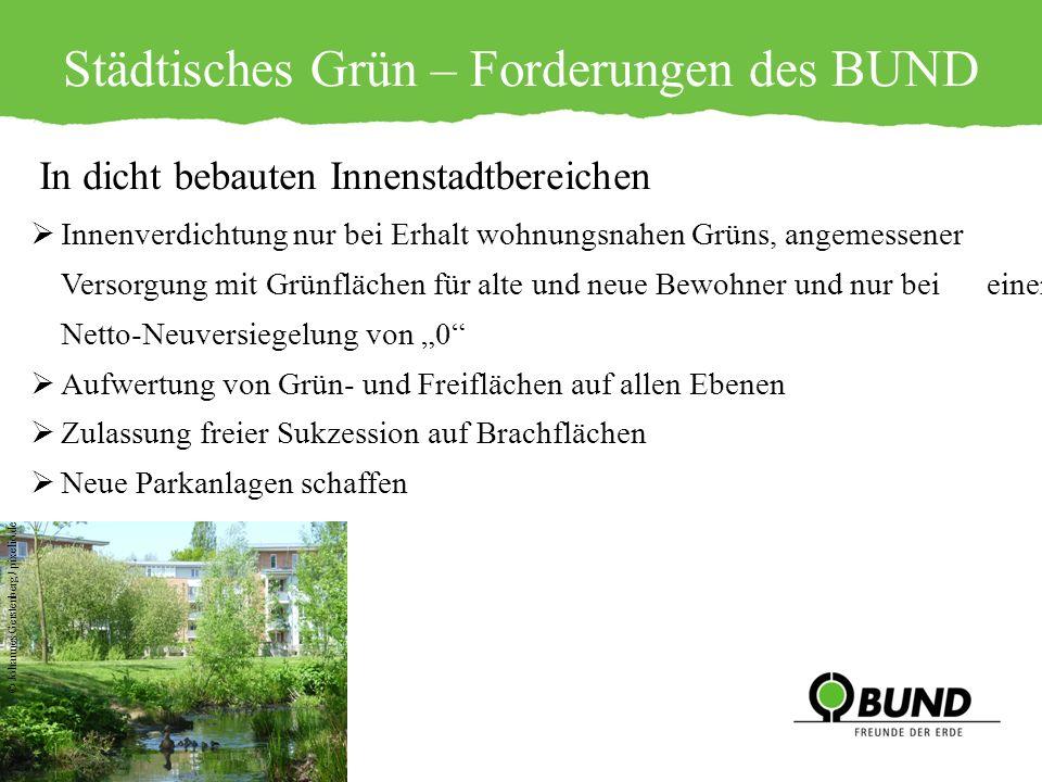 Städtisches Grün – Forderungen des BUND In dicht bebauten Innenstadtbereichen Innenverdichtung nur bei Erhalt wohnungsnahen Grüns, angemessener Versor