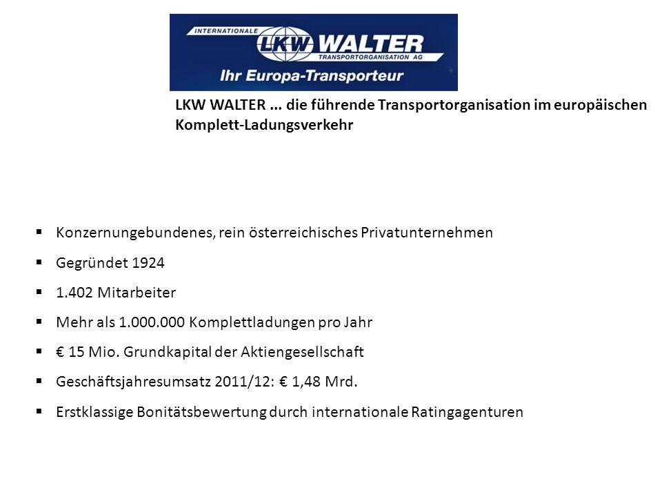 Konzernungebundenes, rein österreichisches Privatunternehmen Gegründet 1924 1.402 Mitarbeiter Mehr als 1.000.000 Komplettladungen pro Jahr 15 Mio. Gru
