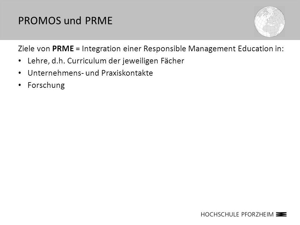 Ziele von PRME = Integration einer Responsible Management Education in: Lehre, d.h. Curriculum der jeweiligen Fächer Unternehmens- und Praxiskontakte