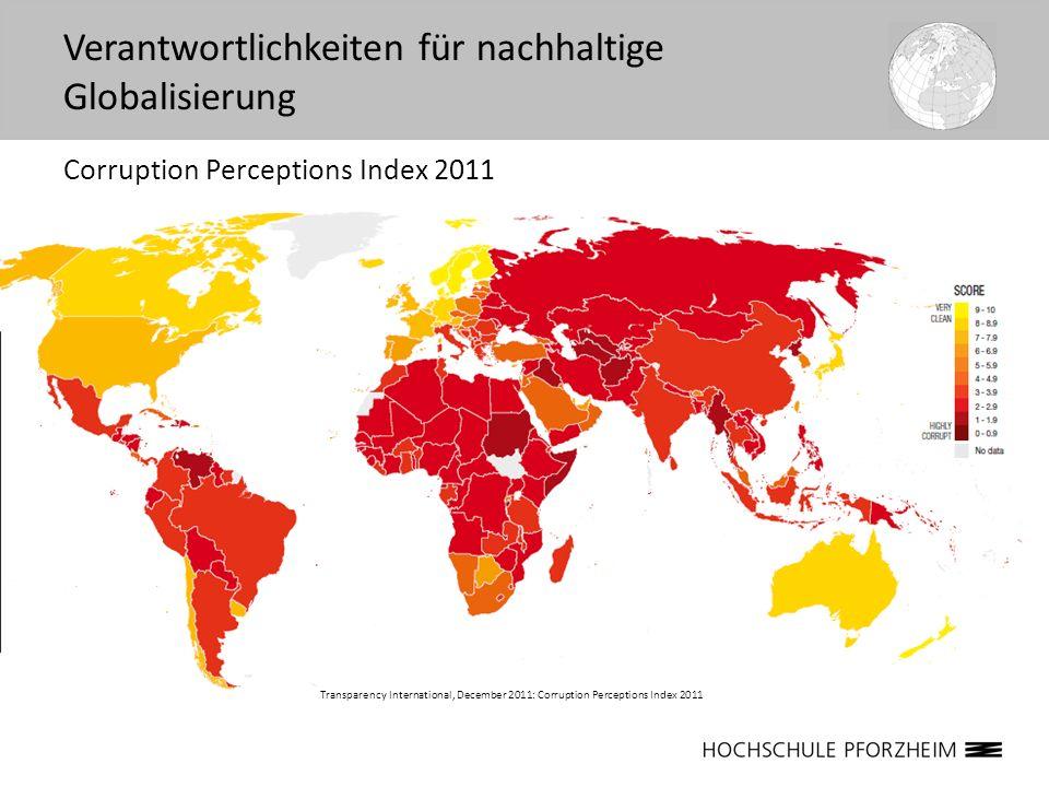 Corruption Perceptions Index 2011 Transparency International, December 2011: Corruption Perceptions Index 2011 Verantwortlichkeiten für nachhaltige Gl