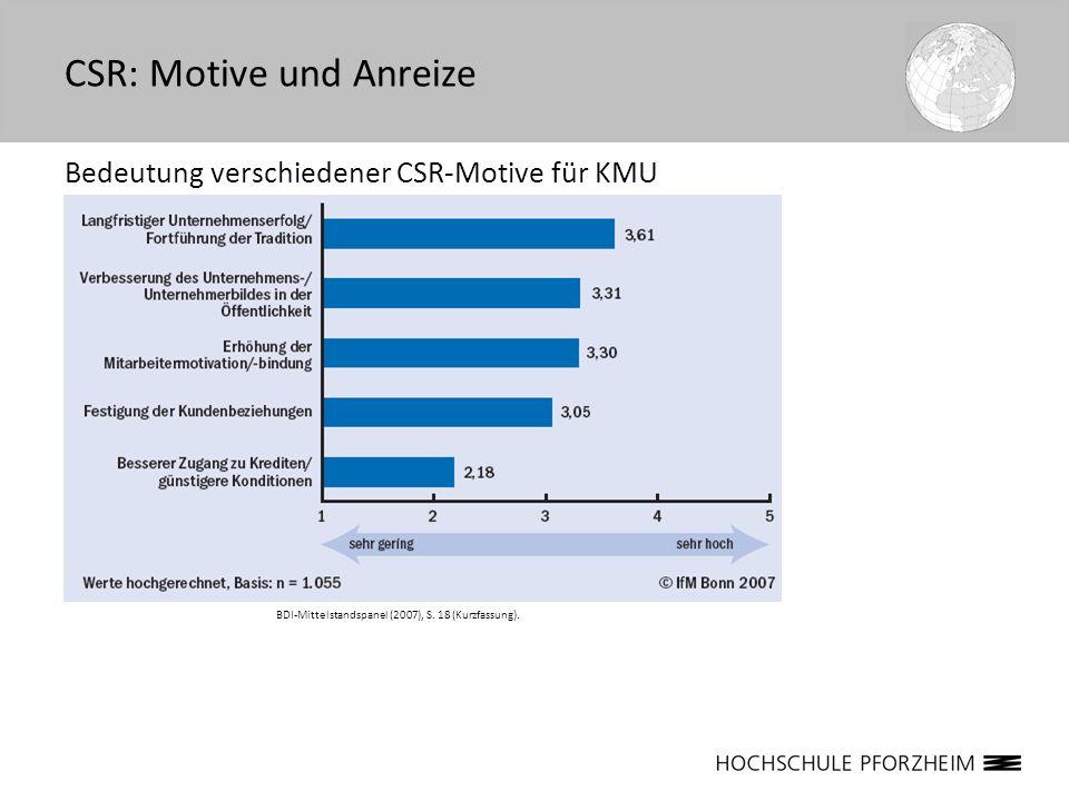 Bedeutung verschiedener CSR-Motive für KMU CSR: Motive und Anreize BDI-Mittelstandspanel (2007), S. 18 (Kurzfassung).
