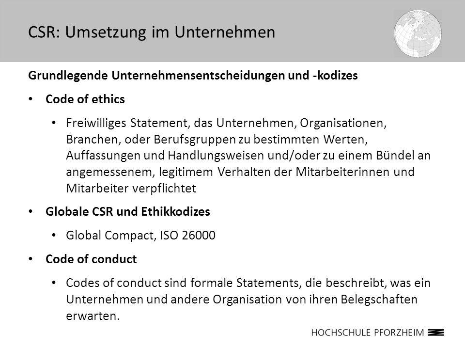 Grundlegende Unternehmensentscheidungen und -kodizes Code of ethics Freiwilliges Statement, das Unternehmen, Organisationen, Branchen, oder Berufsgrup