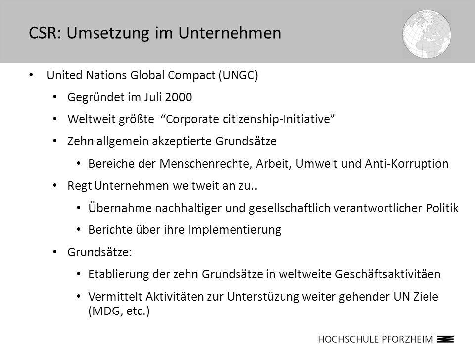 United Nations Global Compact (UNGC) Gegründet im Juli 2000 Weltweit größte Corporate citizenship-Initiative Zehn allgemein akzeptierte Grundsätze Ber