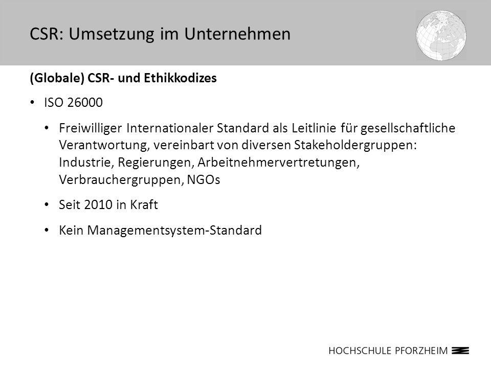 (Globale) CSR- und Ethikkodizes ISO 26000 Freiwilliger Internationaler Standard als Leitlinie für gesellschaftliche Verantwortung, vereinbart von dive