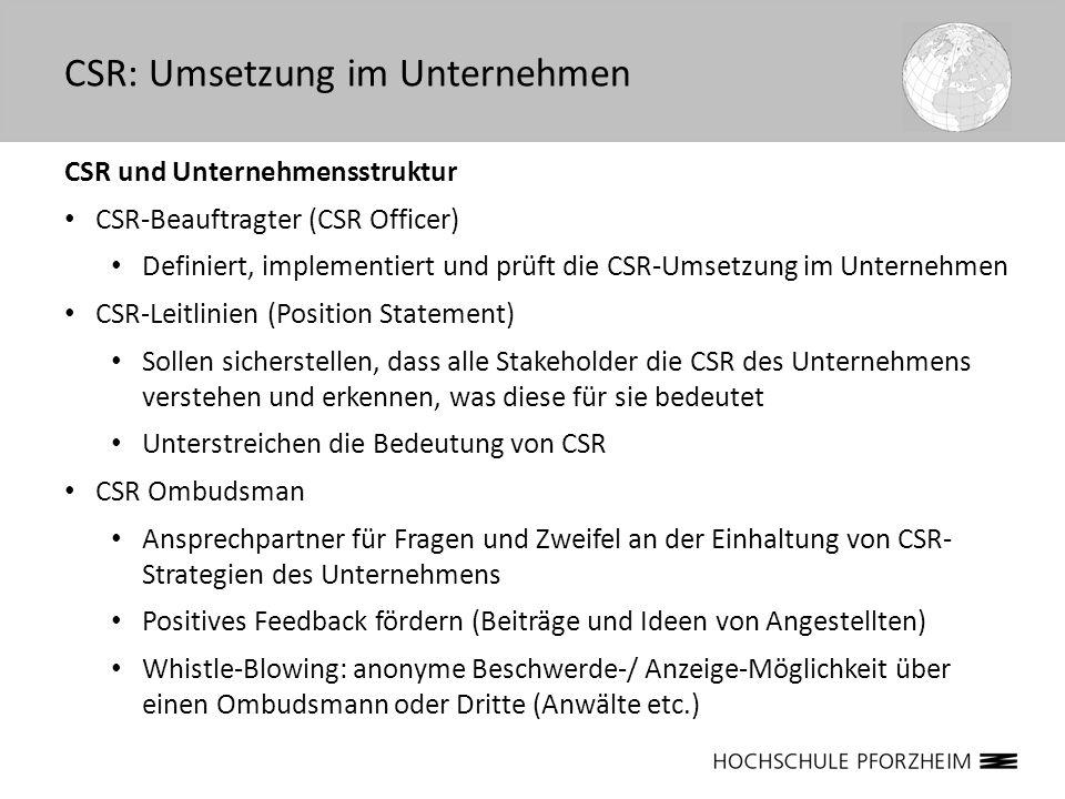 CSR und Unternehmensstruktur CSR-Beauftragter (CSR Officer) Definiert, implementiert und prüft die CSR-Umsetzung im Unternehmen CSR-Leitlinien (Positi