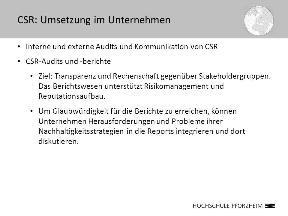 Interne und externe Audits und Kommunikation von CSR CSR-Audits und -berichte Ziel: Transparenz und Rechenschaft gegenüber Stakeholdergruppen. Das Ber