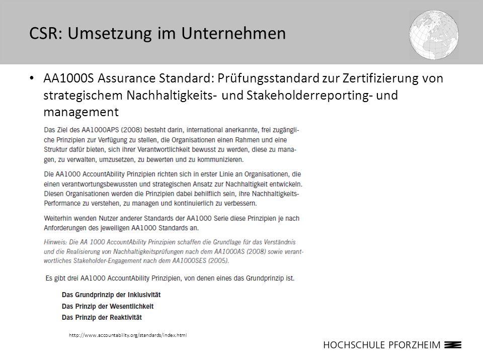 AA1000S Assurance Standard: Prüfungsstandard zur Zertifizierung von strategischem Nachhaltigkeits- und Stakeholderreporting- und management CSR: Umset