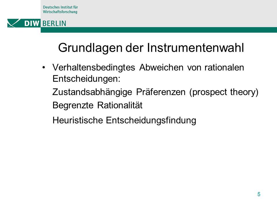 Grundlagen der Instrumentenwahl Verhaltensbedingtes Abweichen von rationalen Entscheidungen: Zustandsabhängige Präferenzen (prospect theory) Begrenzte Rationalität Heuristische Entscheidungsfindung 5