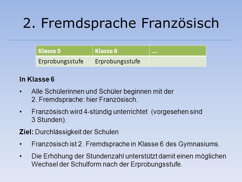 2. Fremdsprache Französisch In Klasse 6 Alle Schülerinnen und Schüler beginnen mit der 2. Fremdsprache: hier Französisch. Französisch wird 4-stündig u