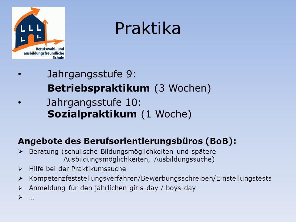 Praktika Jahrgangsstufe 9: Betriebspraktikum (3 Wochen) Jahrgangsstufe 10: Sozialpraktikum (1 Woche) Angebote des Berufsorientierungsbüros (BoB): Bera