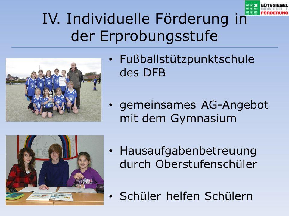 IV. Individuelle Förderung in der Erprobungsstufe Fußballstützpunktschule des DFB gemeinsames AG-Angebot mit dem Gymnasium Hausaufgabenbetreuung durch