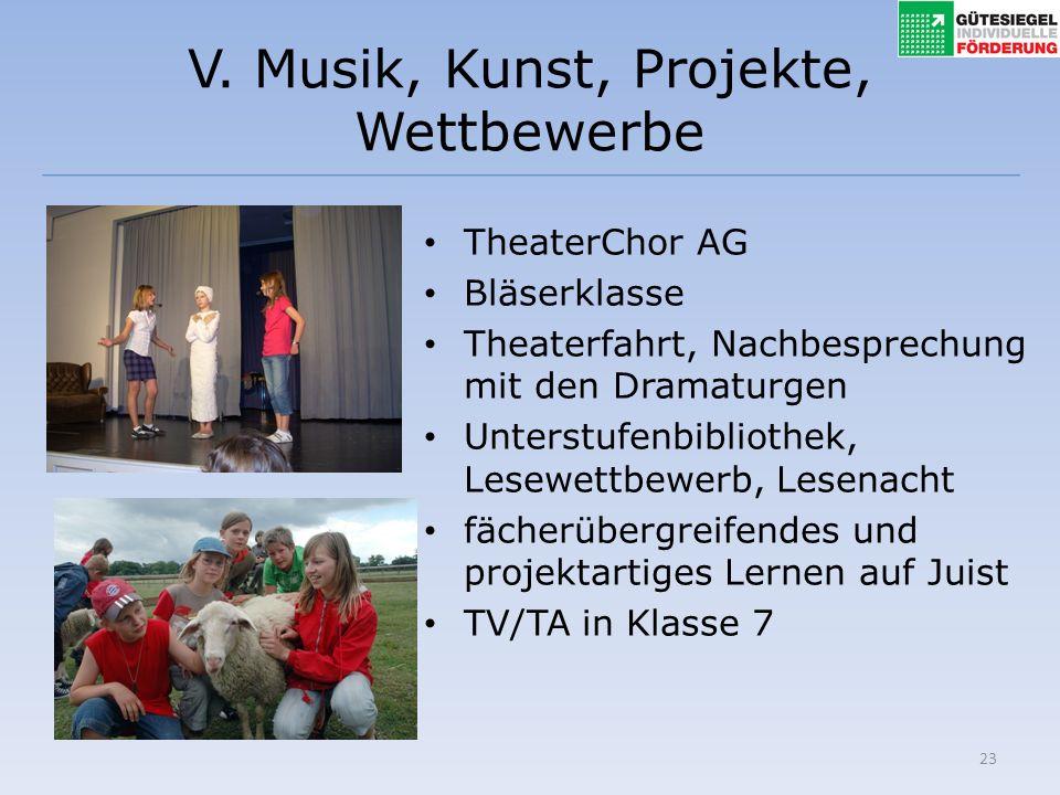 23 V. Musik, Kunst, Projekte, Wettbewerbe TheaterChor AG Bläserklasse Theaterfahrt, Nachbesprechung mit den Dramaturgen Unterstufenbibliothek, Lesewet