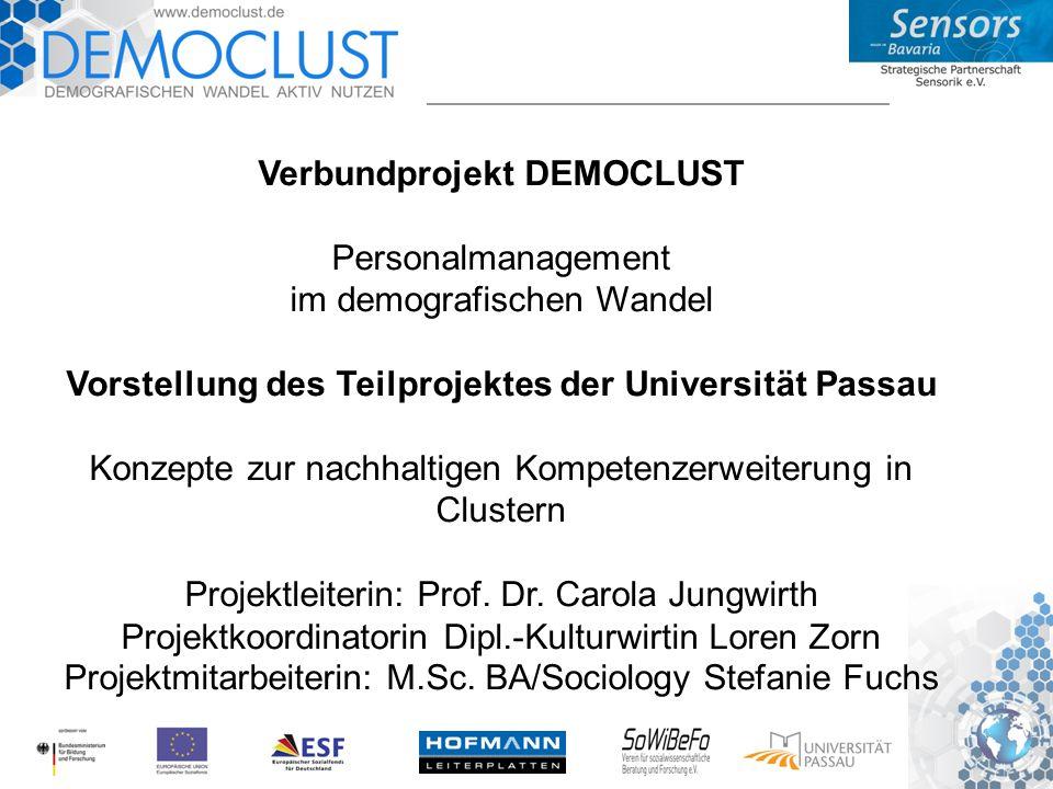 DEMOCLUST - Informationen allgemein Verbundprojekt DEMOCLUST Personalmanagement im demografischen Wandel Vorstellung des Teilprojektes der Universität Passau Konzepte zur nachhaltigen Kompetenzerweiterung in Clustern Projektleiterin: Prof.