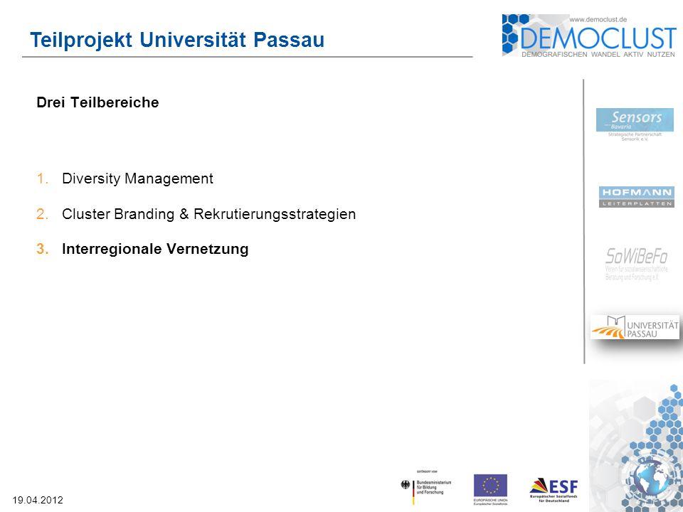 19.04.2012 Teilprojekt Universität Passau Drei Teilbereiche 1.Diversity Management 2.Cluster Branding & Rekrutierungsstrategien 3.Interregionale Vernetzung