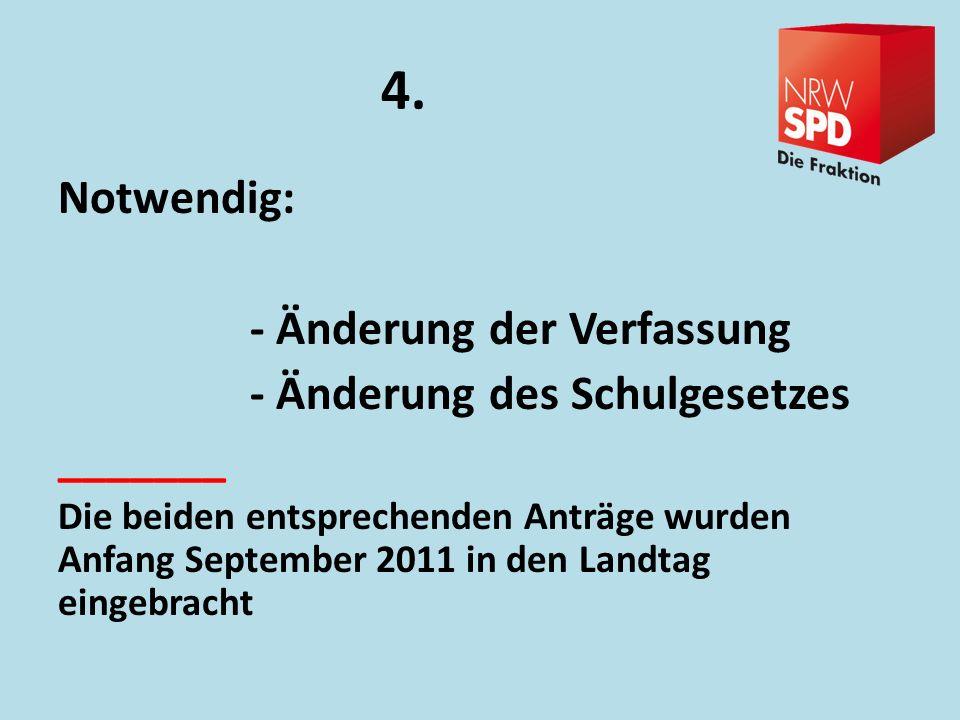 4. Notwendig: - Änderung der Verfassung - Änderung des Schulgesetzes _______ Die beiden entsprechenden Anträge wurden Anfang September 2011 in den Lan