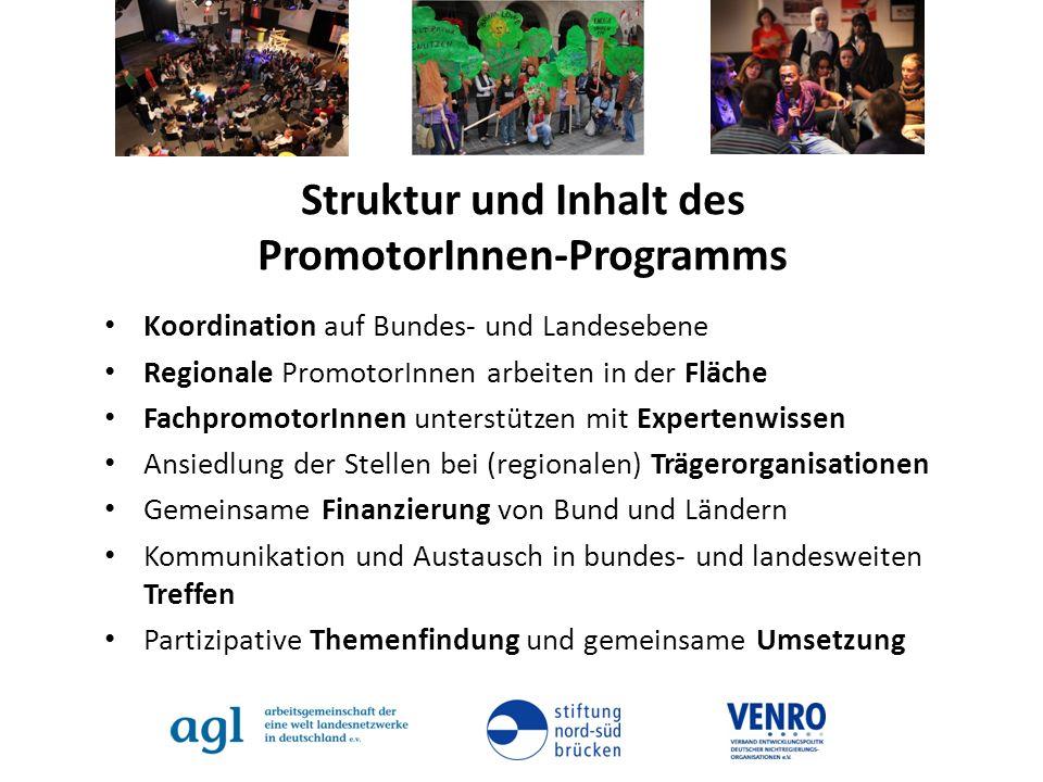 Struktur und Inhalt des PromotorInnen-Programms Koordination auf Bundes- und Landesebene Regionale PromotorInnen arbeiten in der Fläche FachpromotorIn