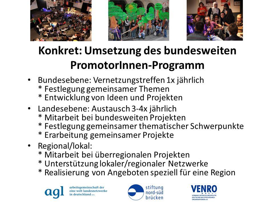 Konkret: Umsetzung des bundesweiten PromotorInnen-Programm Bundesebene: Vernetzungstreffen 1x jährlich * Festlegung gemeinsamer Themen * Entwicklung v