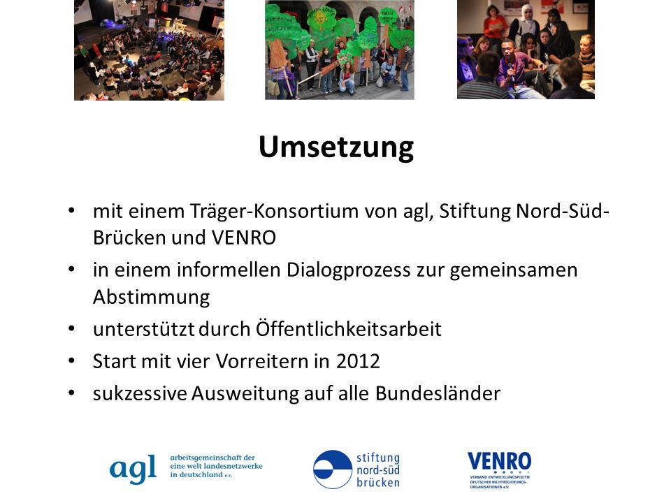 Umsetzung mit einem Träger-Konsortium von agl, Stiftung Nord-Süd- Brücken und VENRO in einem informellen Dialogprozess zur gemeinsamen Abstimmung unte