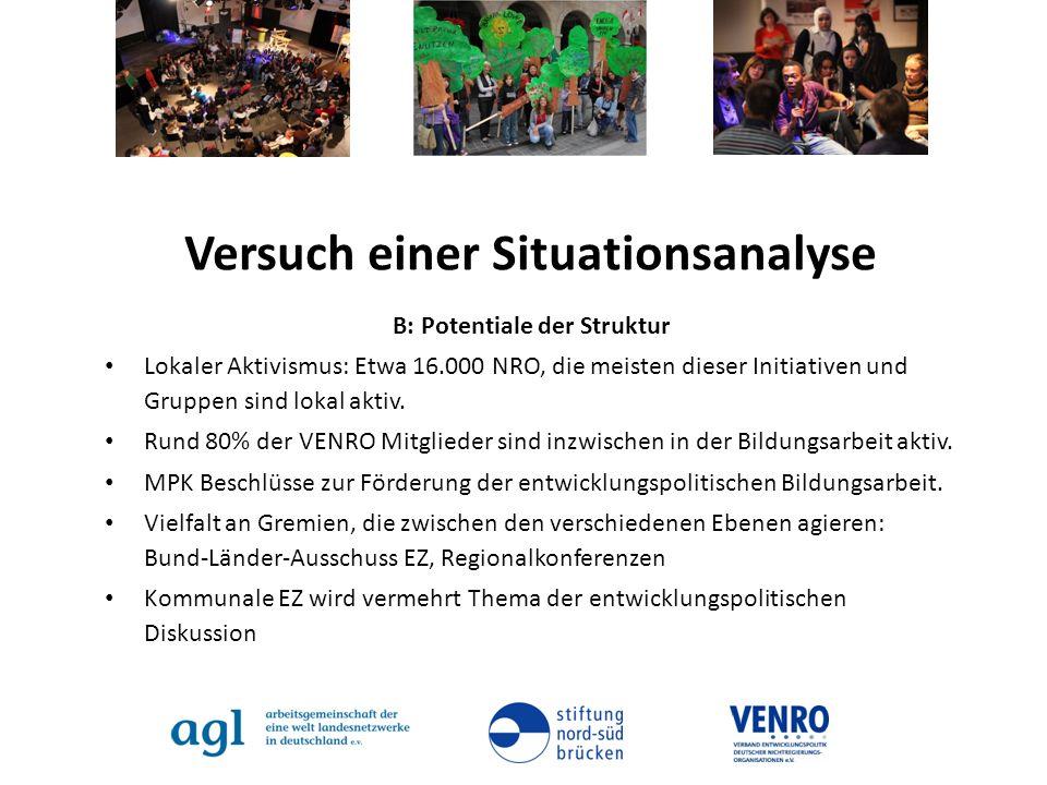 Versuch einer Situationsanalyse B: Potentiale der Struktur Lokaler Aktivismus: Etwa 16.000 NRO, die meisten dieser Initiativen und Gruppen sind lokal