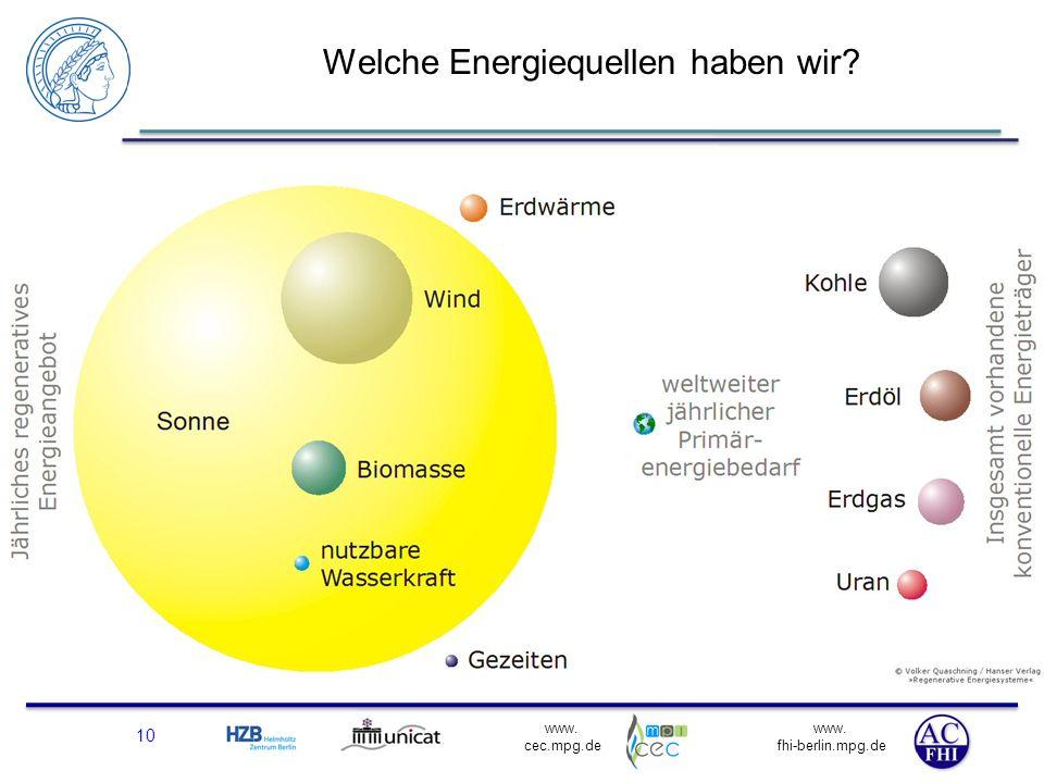 www. fhi-berlin.mpg.de www. cec.mpg.de Welche Energiequellen haben wir? 10