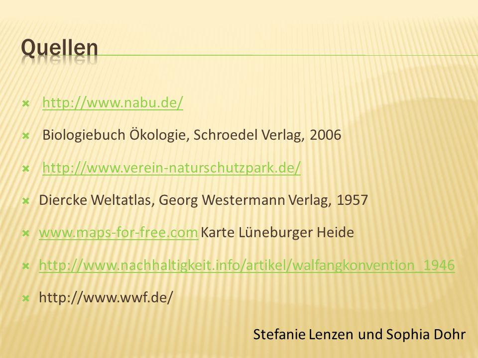 http://www.nabu.de/ Biologiebuch Ökologie, Schroedel Verlag, 2006 http://www.verein-naturschutzpark.de/ Diercke Weltatlas, Georg Westermann Verlag, 1957 www.maps-for-free.com Karte Lüneburger Heide www.maps-for-free.com http://www.nachhaltigkeit.info/artikel/walfangkonvention_1946 http://www.wwf.de/ Stefanie Lenzen und Sophia Dohr