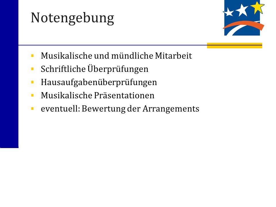 Notengebung Musikalische und mündliche Mitarbeit Schriftliche Überprüfungen Hausaufgabenüberprüfungen Musikalische Präsentationen eventuell: Bewertung der Arrangements