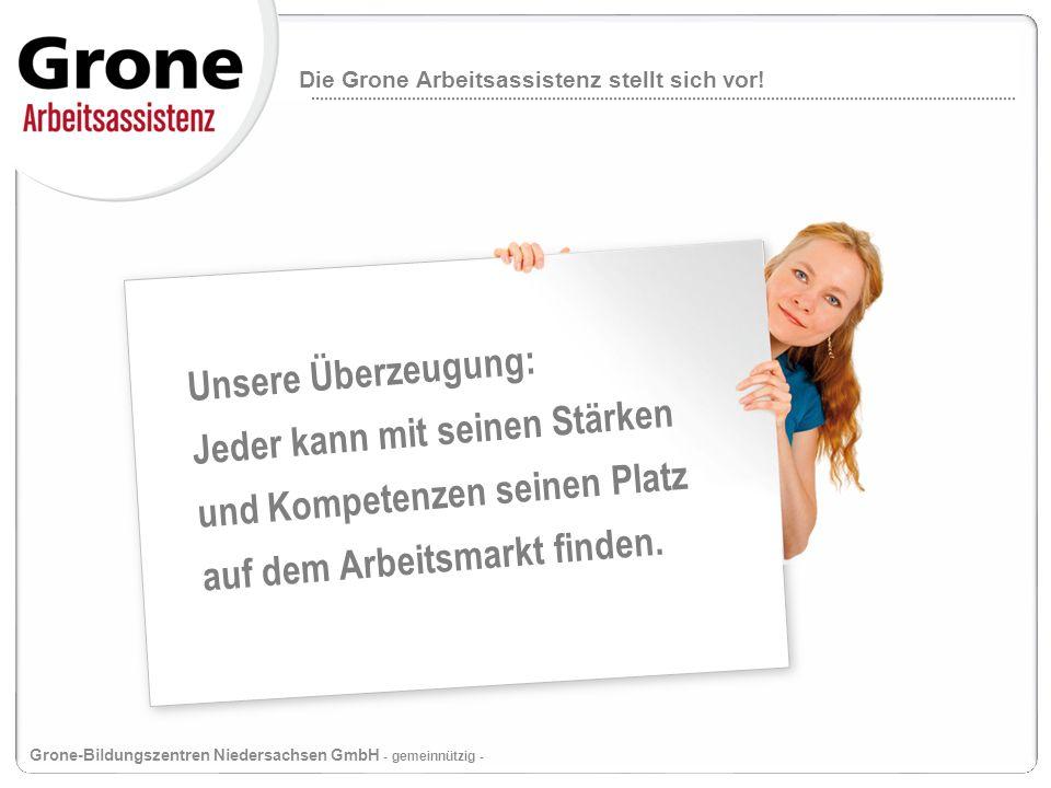 Die Grone Arbeitsassistenz im Überblick: Grone-Schulen Niedersachsen GmbH - gemeinnützig - Folie 6 Ziel Nachhaltige Integration in sozialversicherungspflichtige Beschäftigung