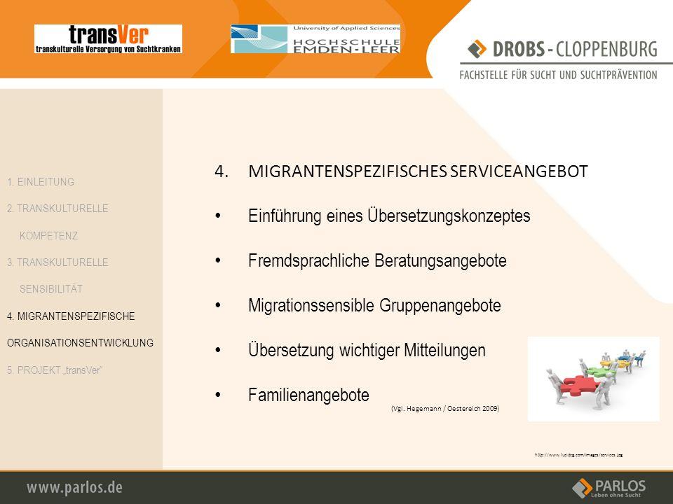 4.MIGRANTENSPEZIFISCHES SERVICEANGEBOT Einführung eines Übersetzungskonzeptes Fremdsprachliche Beratungsangebote Migrationssensible Gruppenangebote Üb