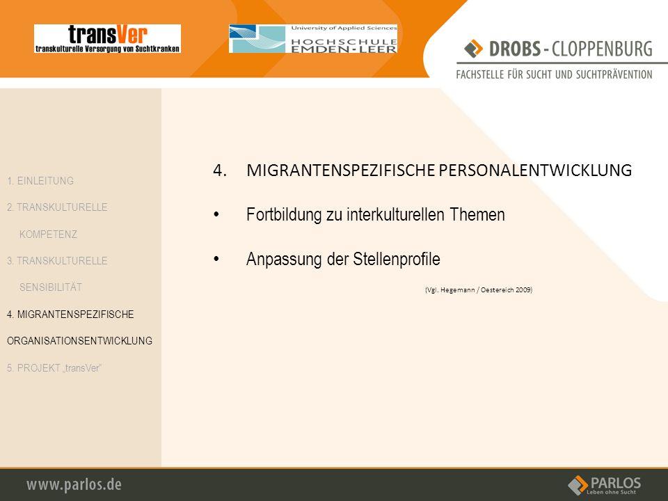 4.MIGRANTENSPEZIFISCHE PERSONALENTWICKLUNG Fortbildung zu interkulturellen Themen Anpassung der Stellenprofile 1. EINLEITUNG 2. TRANSKULTURELLE KOMPET