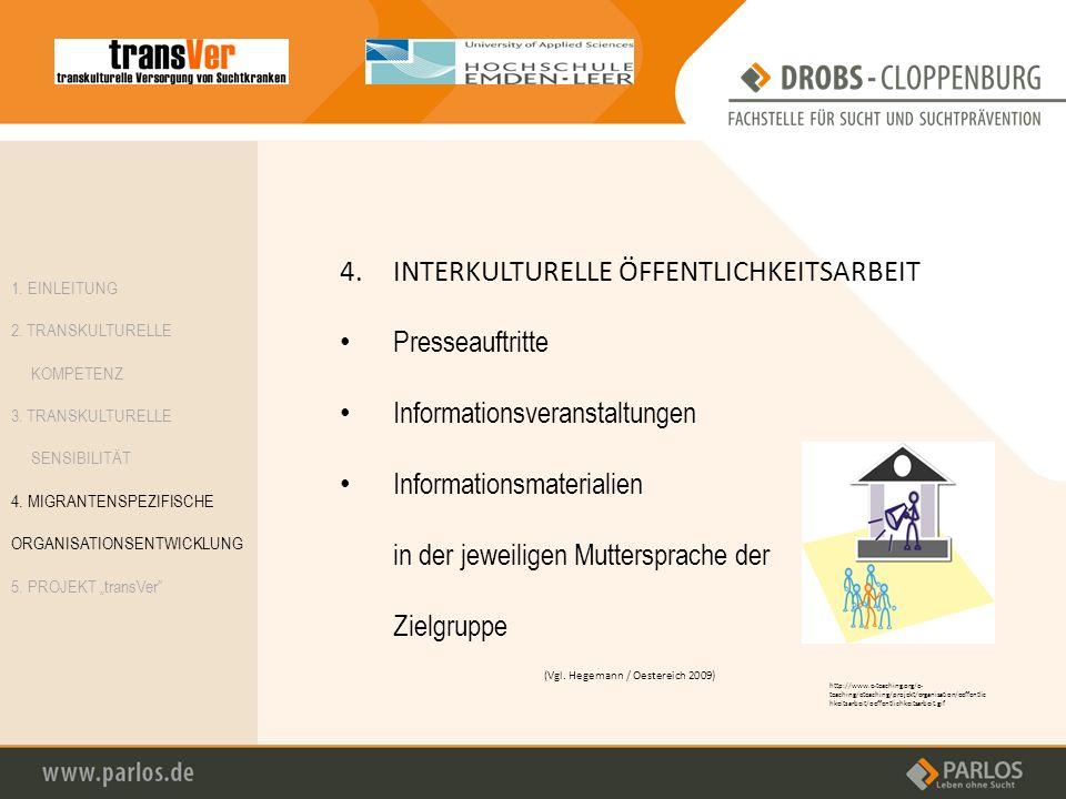 4.INTERKULTURELLE ÖFFENTLICHKEITSARBEIT Presseauftritte Informationsveranstaltungen Informationsmaterialien in der jeweiligen Muttersprache der Zielgr