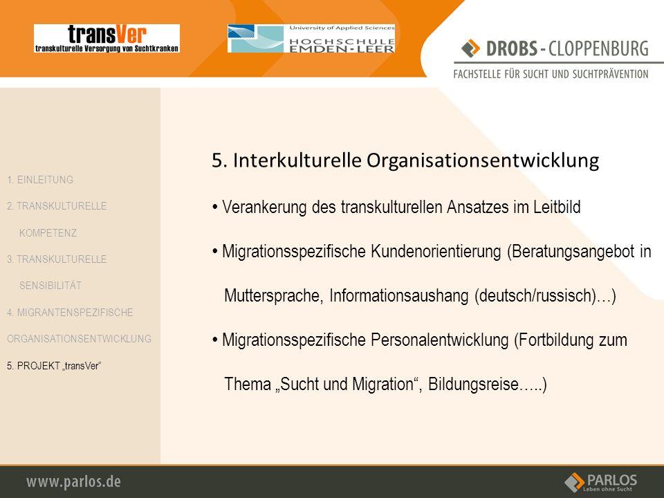5. Interkulturelle Organisationsentwicklung Verankerung des transkulturellen Ansatzes im Leitbild Migrationsspezifische Kundenorientierung (Beratungsa