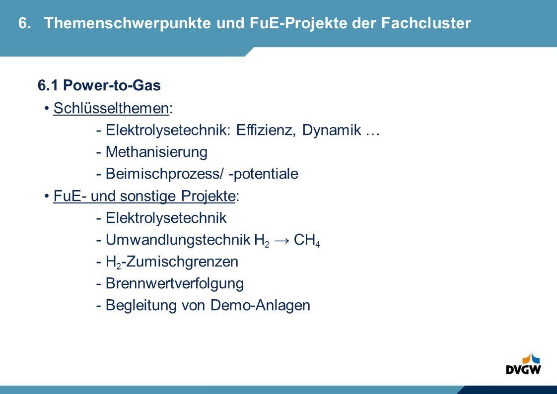 6.1 Power-to-Gas Schlüsselthemen: - Elektrolysetechnik: Effizienz, Dynamik … - Methanisierung - Beimischprozess/ -potentiale FuE- und sonstige Projekte: - Elektrolysetechnik - Umwandlungstechnik H 2 CH 4 - H 2 -Zumischgrenzen - Brennwertverfolgung - Begleitung von Demo-Anlagen 6.Themenschwerpunkte und FuE-Projekte der Fachcluster