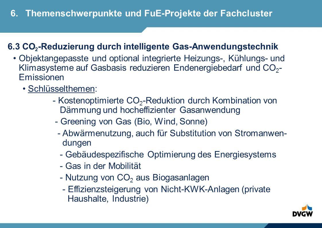 6.3 CO 2 -Reduzierung durch intelligente Gas-Anwendungstechnik Objektangepasste und optional integrierte Heizungs-, Kühlungs- und Klimasysteme auf Gasbasis reduzieren Endenergiebedarf und CO 2 - Emissionen Schlüsselthemen: - Kostenoptimierte CO 2 -Reduktion durch Kombination von Dämmung und hocheffizienter Gasanwendung - Greening von Gas (Bio, Wind, Sonne) - Abwärmenutzung, auch für Substitution von Stromanwen- dungen - Gebäudespezifische Optimierung des Energiesystems - Gas in der Mobilität - Nutzung von CO 2 aus Biogasanlagen - Effizienzsteigerung von Nicht-KWK-Anlagen (private Haushalte, Industrie) 6.Themenschwerpunkte und FuE-Projekte der Fachcluster