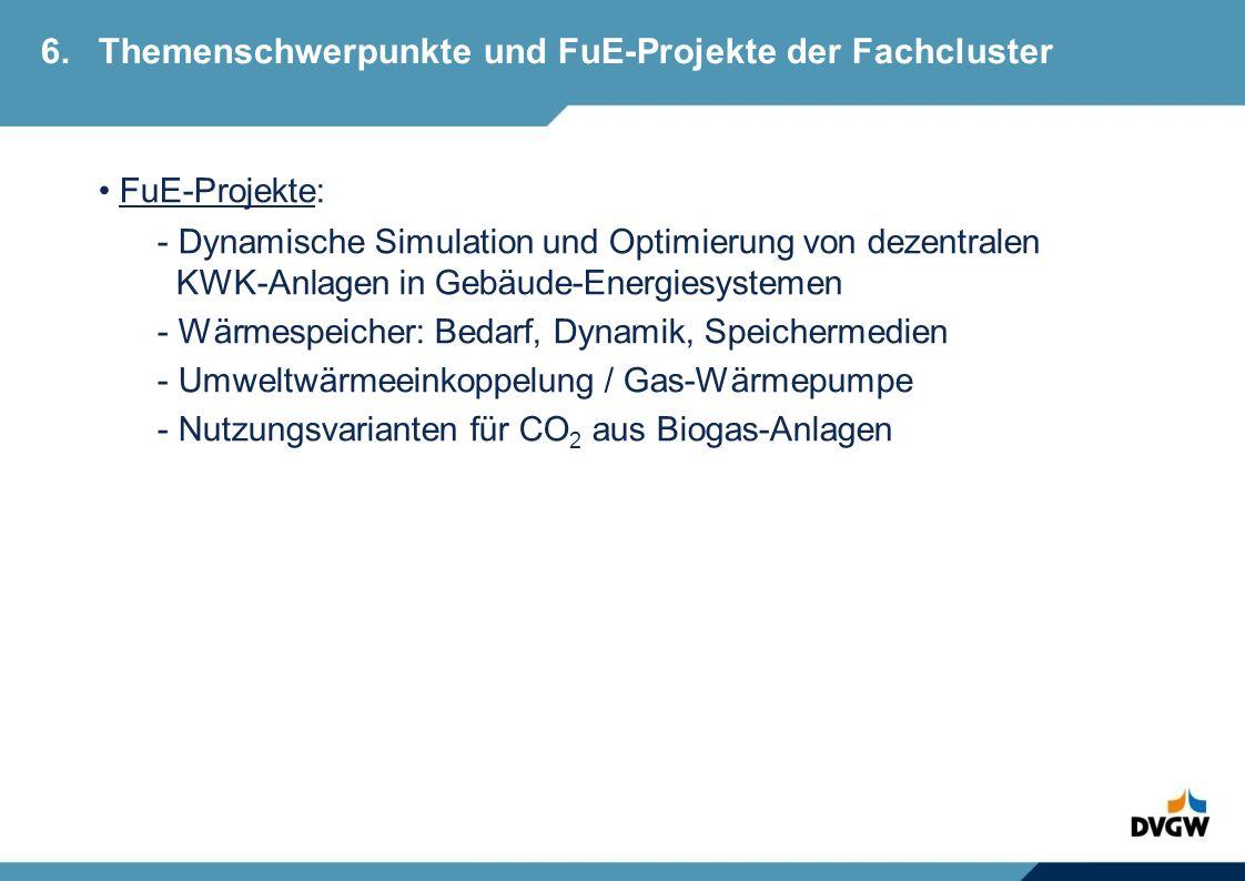 FuE-Projekte: - Dynamische Simulation und Optimierung von dezentralen KWK-Anlagen in Gebäude-Energiesystemen - Wärmespeicher: Bedarf, Dynamik, Speichermedien - Umweltwärmeeinkoppelung / Gas-Wärmepumpe - Nutzungsvarianten für CO 2 aus Biogas-Anlagen 6.Themenschwerpunkte und FuE-Projekte der Fachcluster