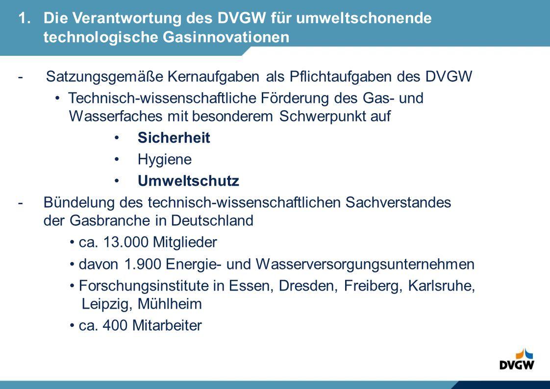 - Satzungsgemäße Kernaufgaben als Pflichtaufgaben des DVGW Technisch-wissenschaftliche Förderung des Gas- und Wasserfaches mit besonderem Schwerpunkt auf Sicherheit Hygiene Umweltschutz - Bündelung des technisch-wissenschaftlichen Sachverstandes der Gasbranche in Deutschland ca.