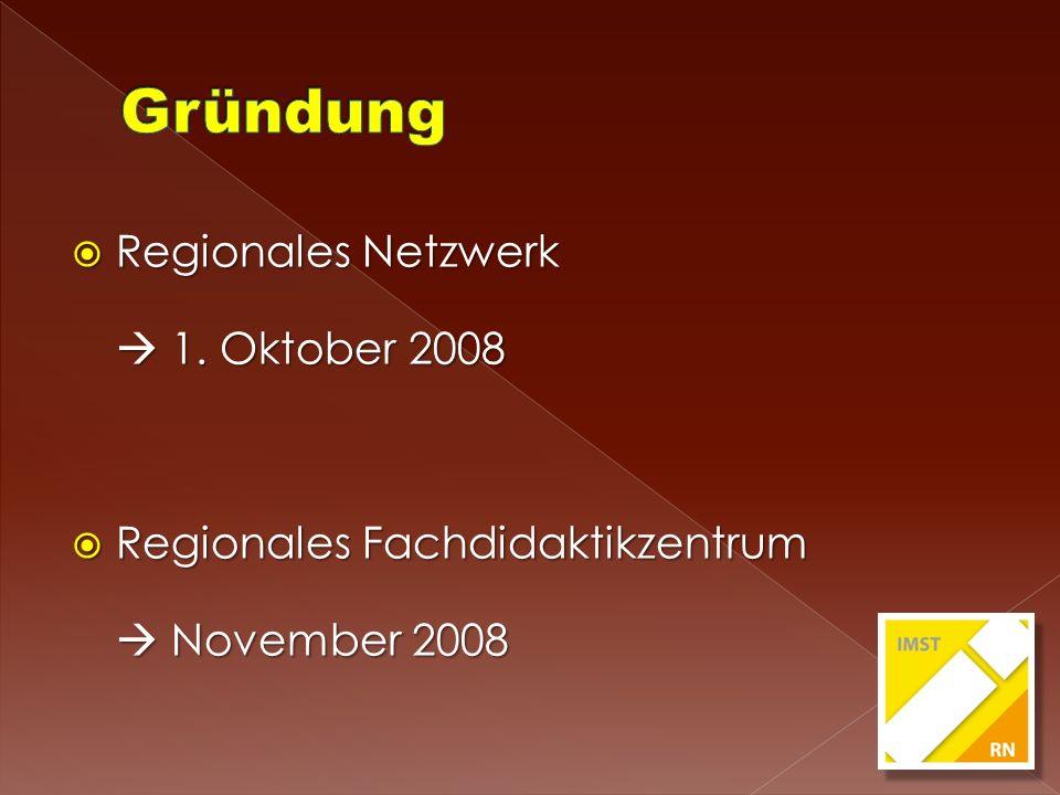 Regionales Netzwerk Regionales Netzwerk 1. Oktober 2008 1. Oktober 2008 Regionales Fachdidaktikzentrum Regionales Fachdidaktikzentrum November 2008 No