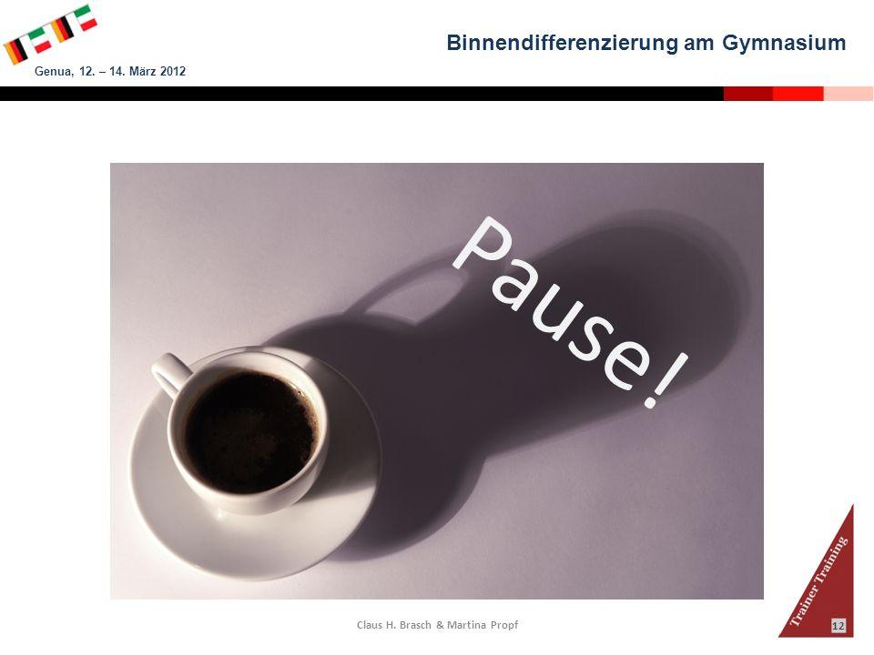 Binnendifferenzierung am Gymnasium Genua, 12. – 14. März 2012 Claus H. Brasch & Martina Propf 12 Pause!