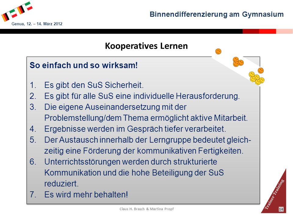 Binnendifferenzierung am Gymnasium Genua, 12. – 14. März 2012 Claus H. Brasch & Martina Propf 14 Kooperatives Lernen So einfach und so wirksam! 1.Es g