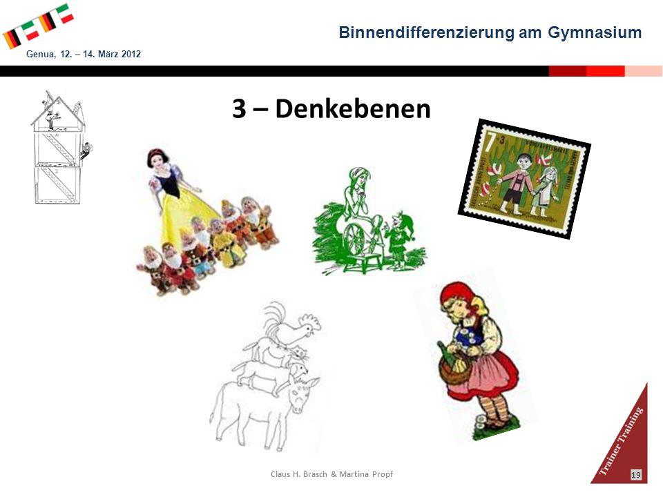 Binnendifferenzierung am Gymnasium Genua, 12. – 14. März 2012 Claus H. Brasch & Martina Propf 19 3 – Denkebenen