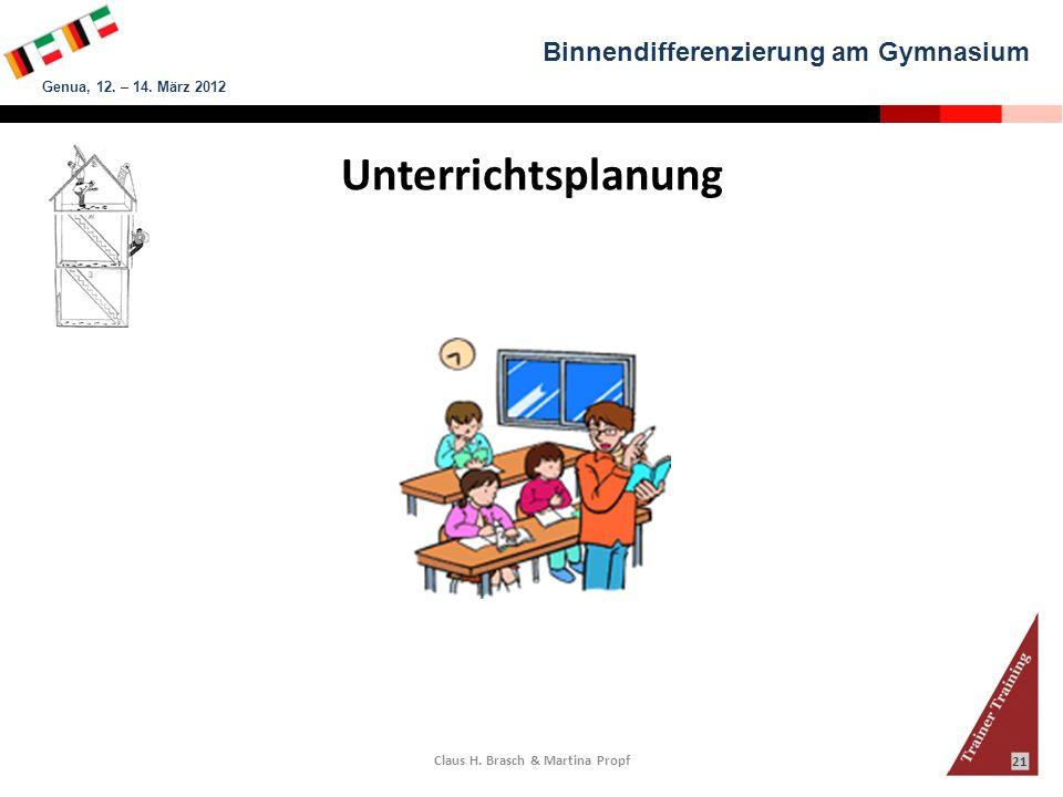 Binnendifferenzierung am Gymnasium Genua, 12. – 14. März 2012 Claus H. Brasch & Martina Propf 21 Unterrichtsplanung